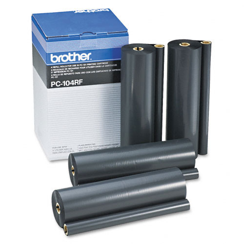 Brother PC-104RF Black OEM Thermal Transfer Refill Rolls (4/box)
