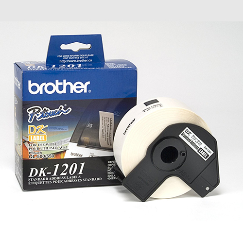 "Brother DK1201 OEM 1.4"" x 3.5"" / 38mm x 90.3mm Die-cut Large White Paper Address Labels (400 pcs)"