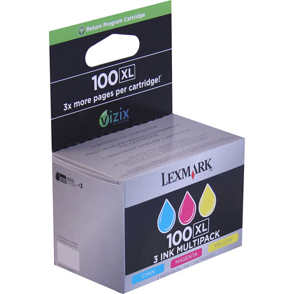 Lexmark 14N0684 (Lexmark #100C M Y XL) Cyan, Yellow, Magenta OEM High Capacity Ink Cartridge (Multipack, 3pk)