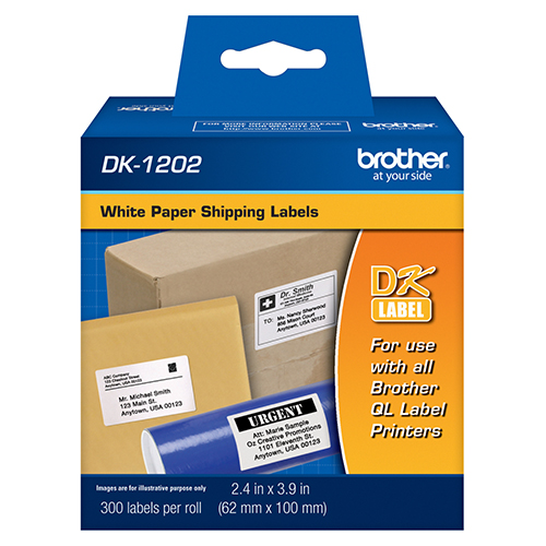 "Brother DK1202 OEM 2.4"" x 3.9"" / 62mm x 100mm Die-cut White Paper Shipping Labels (100' length)"