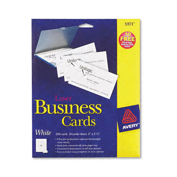Avery 5371 OEM White Business Cards for Laser (25 Sheets/Pkg)