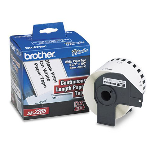 Brother DK2205 OEM 2.4'' x 100'/ 62mm x 30.4m Continous Length White Paper (400 pcs)